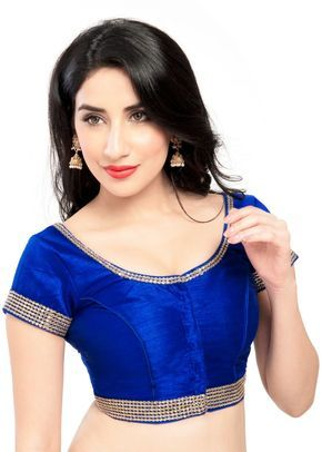 Beautiful Royal Blue Zari Bordered Party-wear Saree Blouse X-153 This is an exclusive designer party wear saree blouse with rich diamond zari embroidered at the hems. Team it with any sari and be assu
