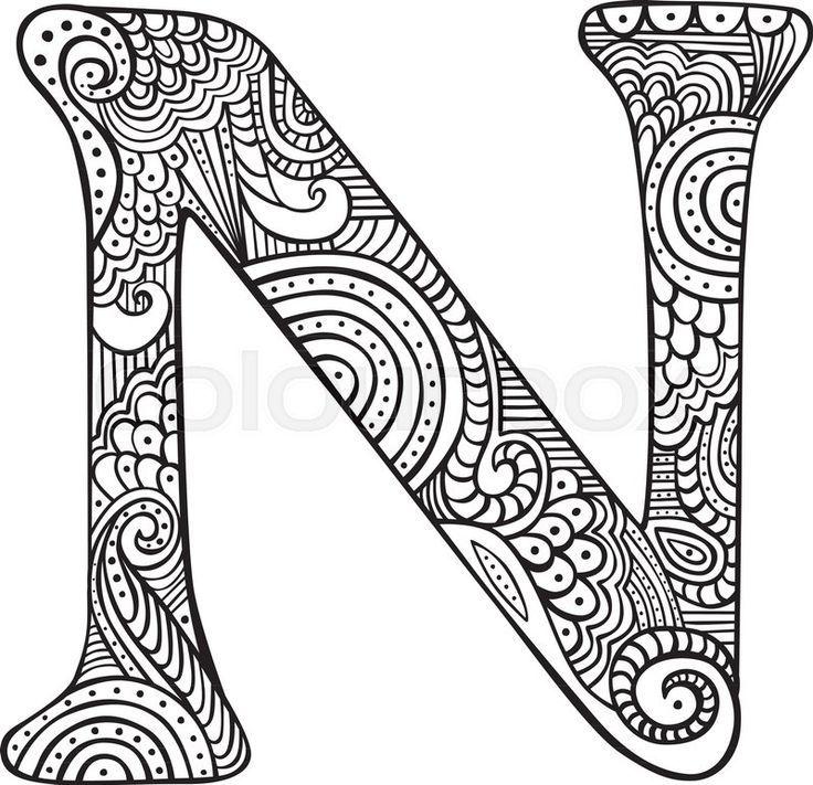 Stock Vecteur De La Lettre Majuscule N Dessinee A La Main En Noir Coloriage Pour Doodle Art Buchstaben Mandala Zum Ausdrucken Mandalas Zum Ausmalen