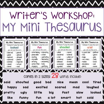 Do your students have a hard time with adding descriptive words to their writing? Are their commonly used words lacking depth and creativity? These My Mini Thesaurus charts will help any student with writing more descriptively!This resource includes 28 commonly used words with 12-14 synonyms:said, shouted, good, bad, nice, mean, cool, tired, happy, sad, excited, scared, mad, laughed, pretty, ugly, little, big, fast, slow, looked, like, funny, fun, a lot, smart, hot, coldThere are 2 sizes…