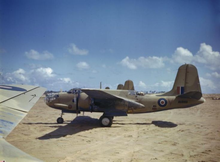 Douglas Boston of No 24 Squadron, South African Air Force lined up at Zuara, Tripolitania.