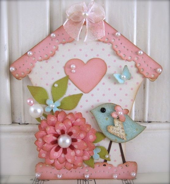 Vintage style Shabby Pink Bird House Sweet n Cute by vsroses