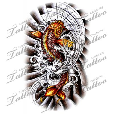 Koi fish with dark waves tattoo design japanese tattoo for Coy fish designs