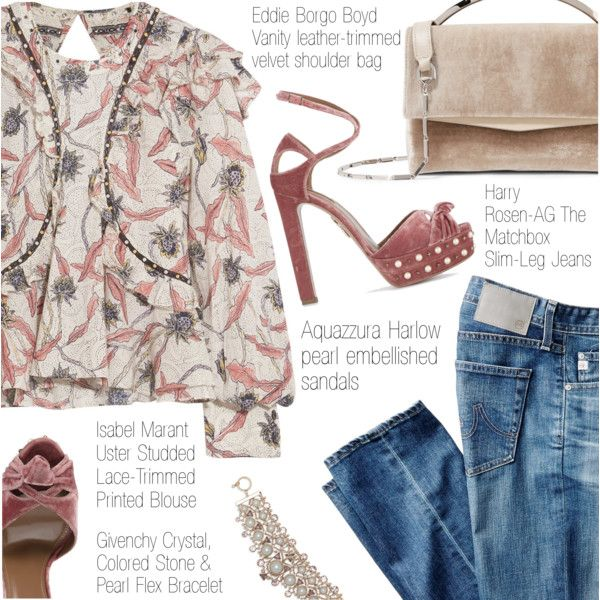 Casual Luxury by pokadoll on Polyvore featuring Isabel Marant, AG Adriano Goldschmied, Aquazzura, Eddie Borgo, Givenchy, polyvoreeditorial and polyvoreset