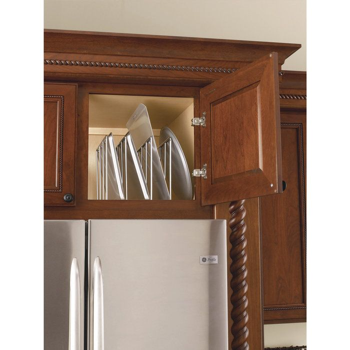 RTA U-Shaped Tray Divider in Chrome-Fits Best in TB9, B12, or Most Cabinets Over The Refridgerator, Cherry Cabinets - LAC59610CR52