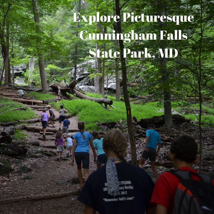 Easy one-mile loop hike to a waterfall, and then play on the beautiful beach at Cunningham Falls State Park in Maryland.