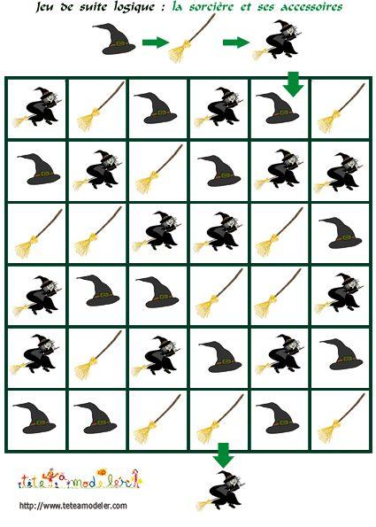 coloriage jeu de suite logique : La sorcière et ses accessoires