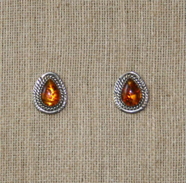 Navajo Sterling Silver & Amber Post Earrings  Plus Free USA Shipping! by Route66Diner on Etsy