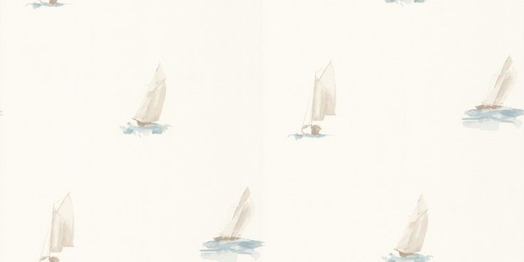 Watercolour Boats (MRN25067212) - Casadeco Wallpapers - An all over wallpaper design featuring various watercolour motifs of boats. Shown here blues and off white. Other colourways are available. Please request a sample for a true colour match. Paste-the-wall product.