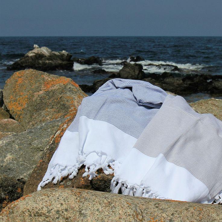 Skagen badehåndklæde, blå- og brunstribet