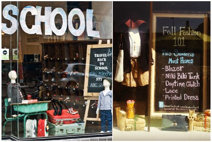 Fall Window Display Inspiration - Back to School - Blog - Boutique Window http://www.boutiquewindow.com/blog/articles/fall-window-displays/