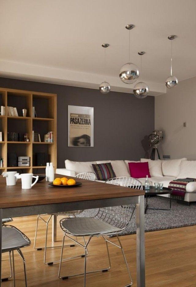 Ideen Wohnzimmer Streichen Grau Weisses Sofa Holz Bucherregal