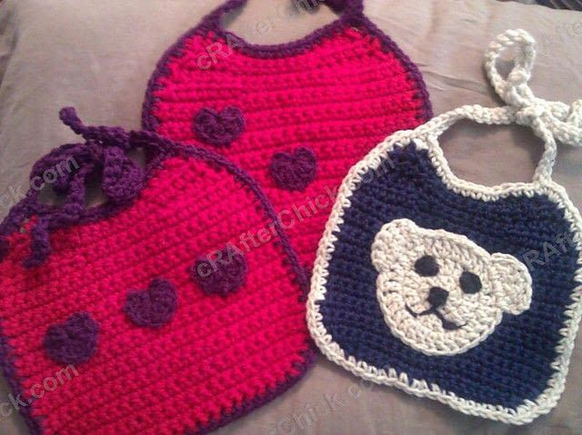 Crochet Baby Bib With Contrast Trim · A Baby Bib · Yarncraft on ...