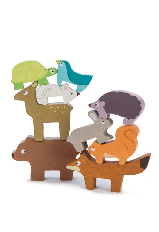 Wooden stacking animals