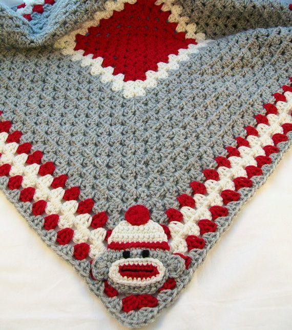 Gray Grey Sock Monkey Baby Blanket Granny Square by littledarlynns