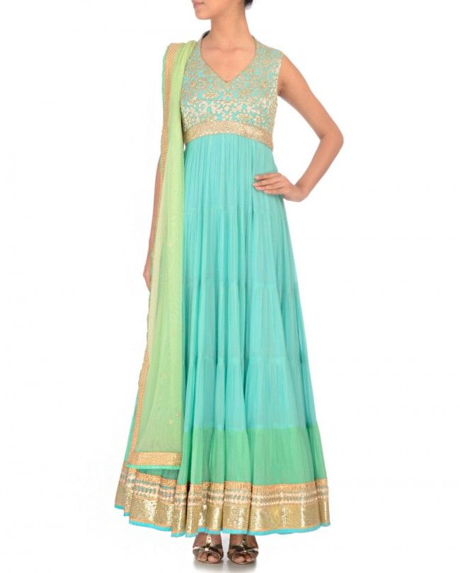 Mint Blue Anarkali Suit with Floral Pattern- Chamee & Palak