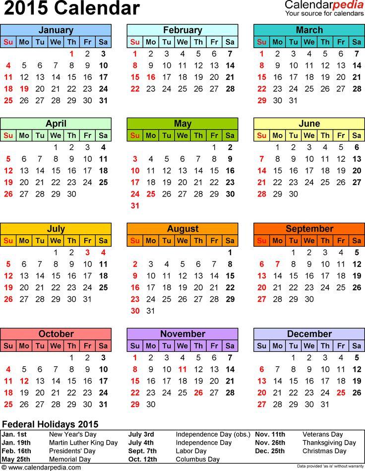 Template 13: 2015 Calendar for PDF,1 page, portrait orientation, in color
