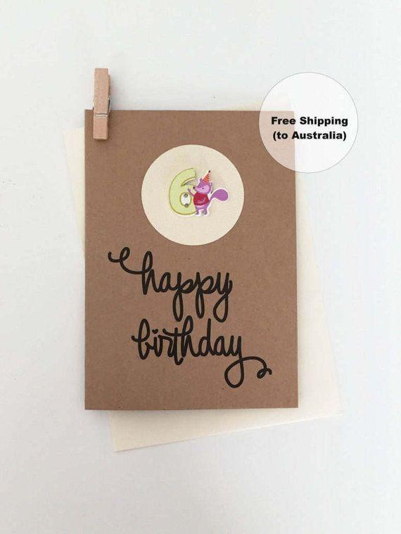 6th Birthday Card – 6th Happy Birthday Card – Age 6 Happy Birthday Card – Sixth Happy Birthday Card – Happy 6th Birthday Card