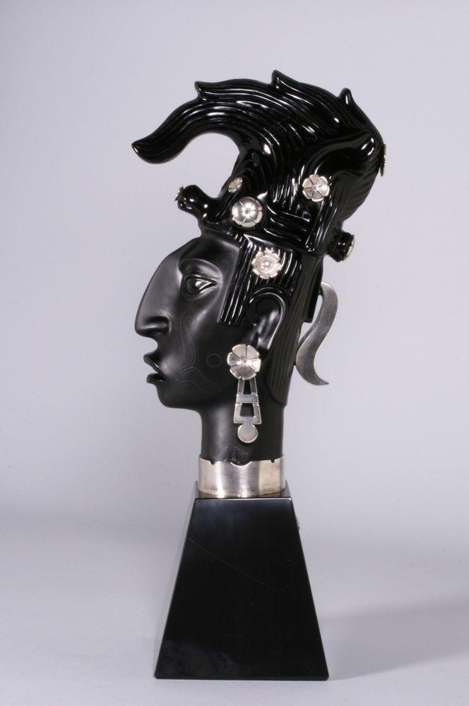 Ezequiel Tapia - Large Mexican Obsidian & Silver Sculpture / Taxco-Spratling Era
