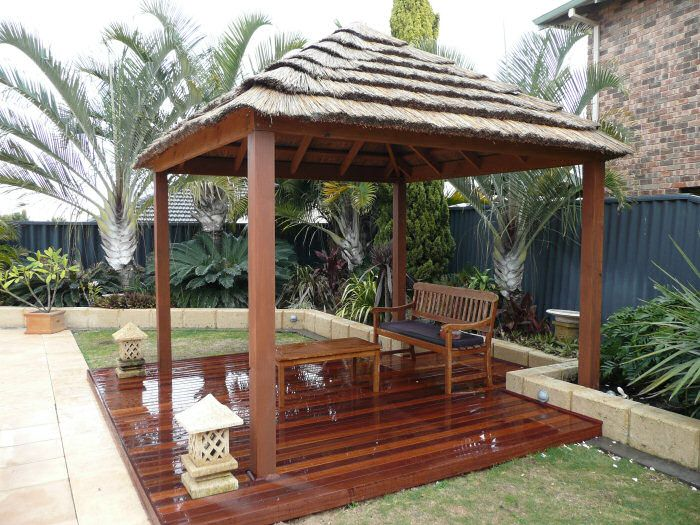 African hut with decking