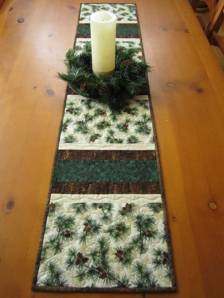 Quilted Table Runner with Pine Cones by patchworkmountain.com