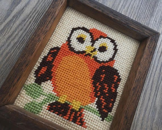Owl Art Owl Embroidery Vintage Embroidery Framed