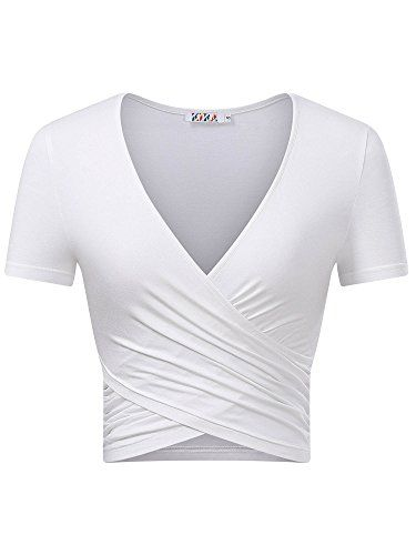 c4000a6920fc68 KIRA Women's Deep V Neck Long Sleeve Unique Cross Wrap Slim Fit Crop Tops  Product Information