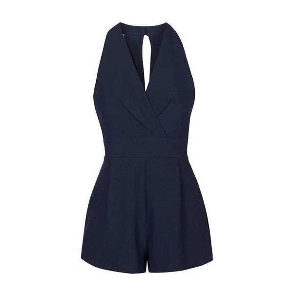 Cross Bust Playsuit by Love (£18) ❤ liked on Polyvore featuring jumpsuits, rompers, dresses, playsuits, jumpers, navy blue, navy blue rompers, open-back rompers, playsuit romper and navy rompers