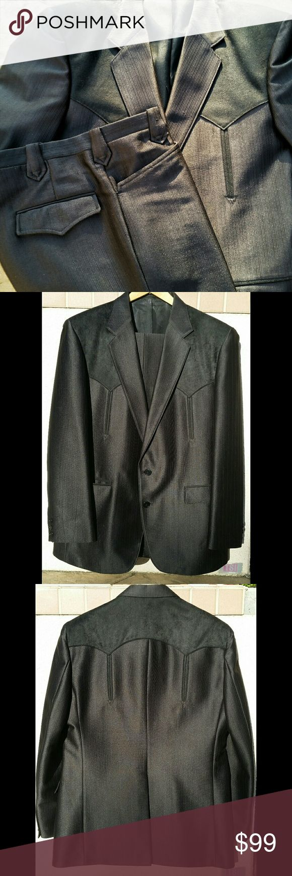"""Circle S Western Suit Western Dress Suit Color is dark brown almost black Jacket 42 Regular Pants 34  Inseam 29.5"""" (about an inch to let out) Excellent condition  Made in USA - Dallas Texas Freddies Finds Suits & Blazers Suits"""