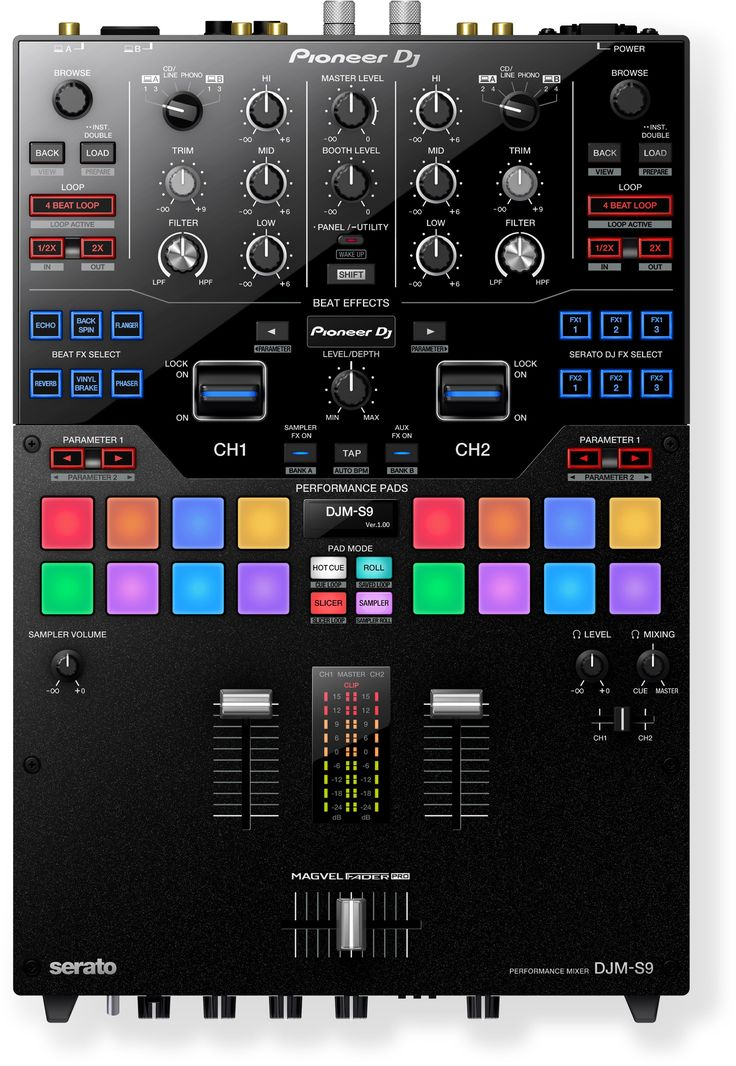 Discover the key features of the Pioneer DJ DJM-S9, 2-channel battle mixer for Serato DJ (black)
