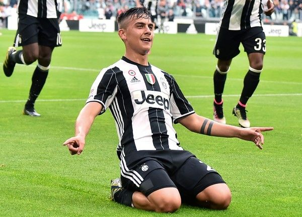 "Juventus' forward from Argentina Paulo Dybala celebrates a goal during the Italian Serie A football match Juventus vs Sampdoria on May 14, 2016 at the ""Juventus Stadium"" in Turin. Juventus celebrate a record-equalling fifth consecutive Serie A title. / AFP / GIUSEPPE CACACE"