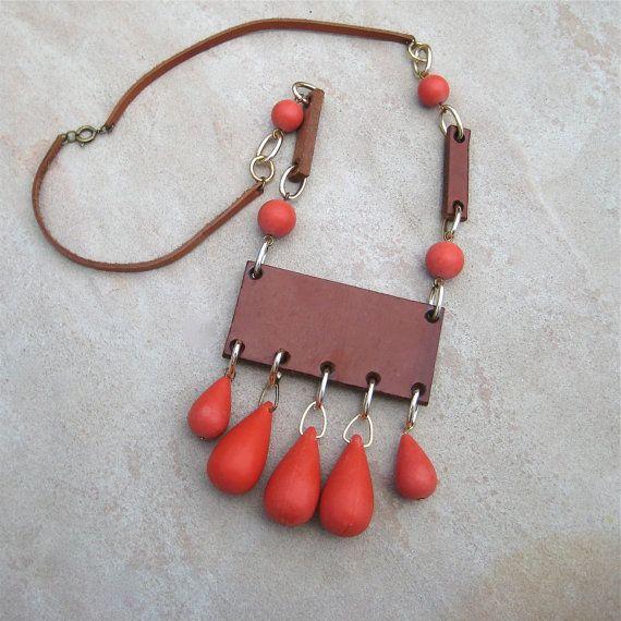 Vintage Leather Necklace Aarikka Style Boho Artisan by elansolete