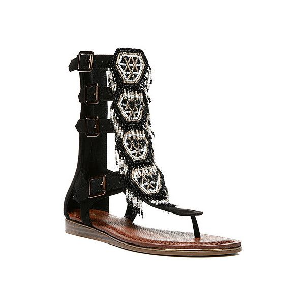 Carlos by Carlos Santana Taos Sandals ($99) ❤ liked on Polyvore featuring shoes, sandals, black, gladiator sandals, women's, black fringe shoes, fringe shoes, black shoes and long gladiator sandals