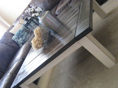 DIY Coffee Table - Love the combination of the dark stained wooden top and white, slightly worn frame. I think this would also look great as a farm house table with a matching bench! This is my favorite and a must do!