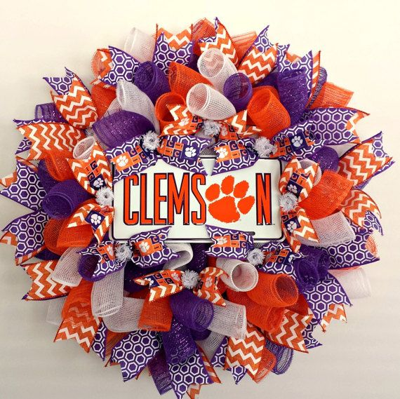 Check out this item in my Etsy shop https://www.etsy.com/listing/484517211/clemson-tigers-clemson-wreath-clemson