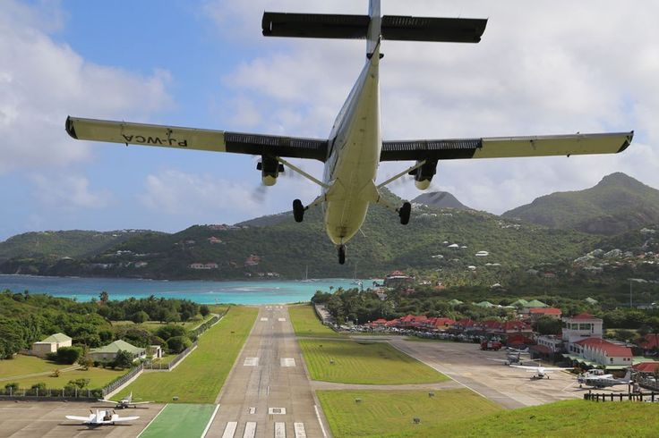 An interisland Winair puddle jumper landing at Gustaf III Airport on St. Barts