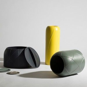 Benjamin Hubert patterns ceramic containers with raised seams