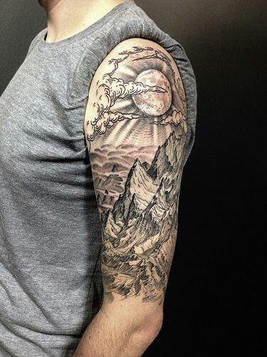 Pattern Ideas For Sleeve Tattoo: Moon Landscape Tattoo