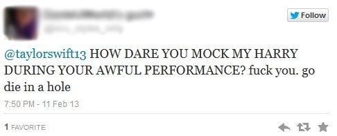 This friendly tweet to Taylor Swift after a performance at the Grammys. | 30 One Direction Fans You Won't Believe Exist