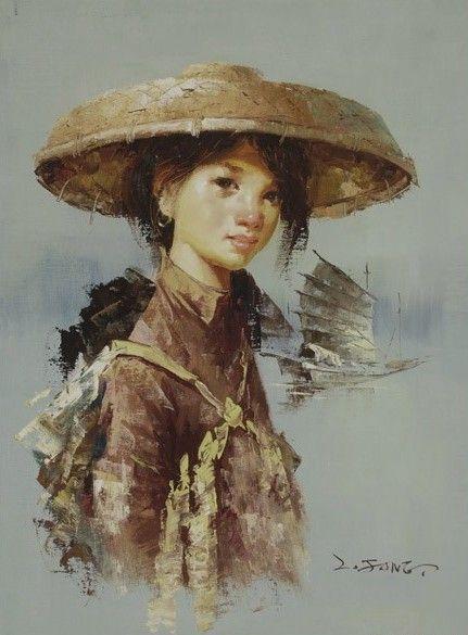 Lee Man Fong - Jonge vrouw met Jonk op de achtergrond