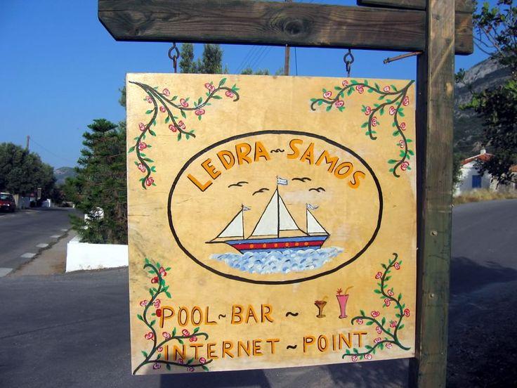 Simple pool bar sign at Ormos Marathokambos on the Greek island of Samos
