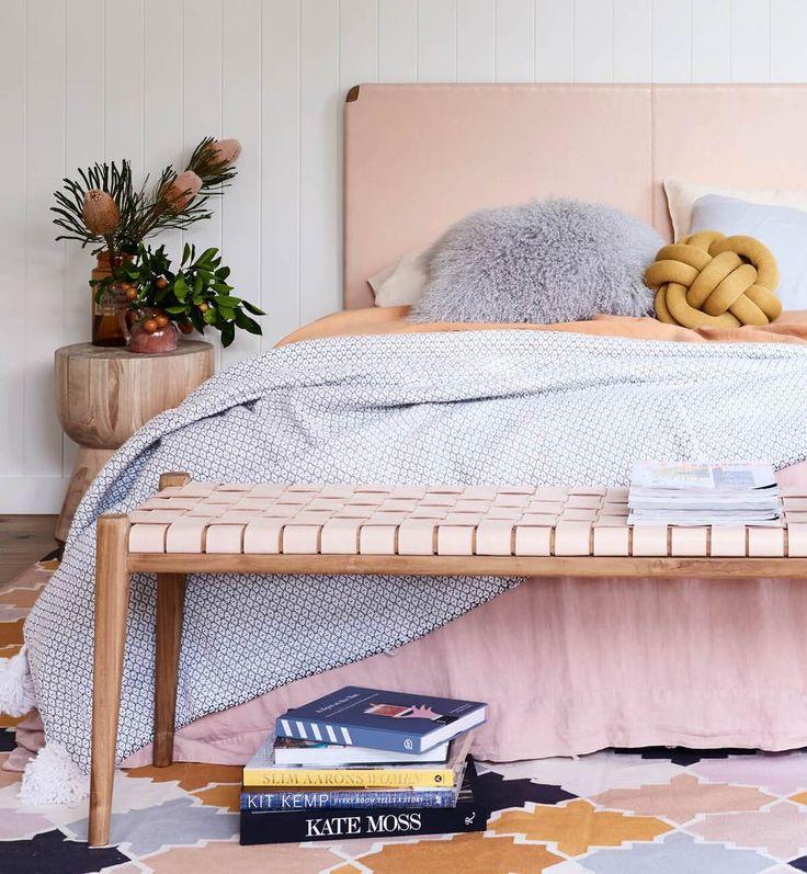 Flat Leather Bedhead - Teak & Natural