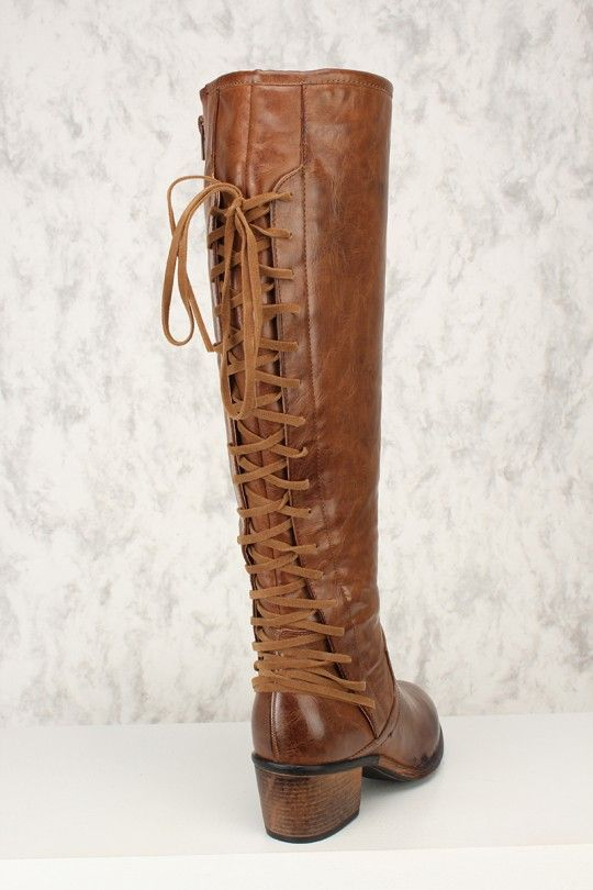 e85fdd8ba9a Sexy Brown Back Lace Up Chunky Heel Boots Faux Leather | Vintage ...