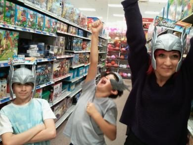 My crazy kids are impossible to take shopping. Love it!