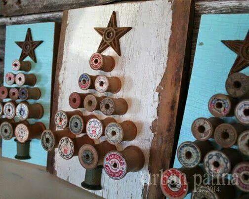 Vintage Wooden spool Christmas tree