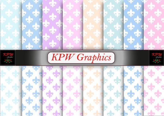 Rainbow Pastel Fleur de Lis Digital Printable by KPWgraphics
