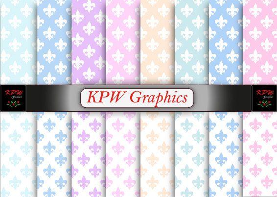 Rainbow Pastel Fleur de Lis Digital Printable by KPWgraphics