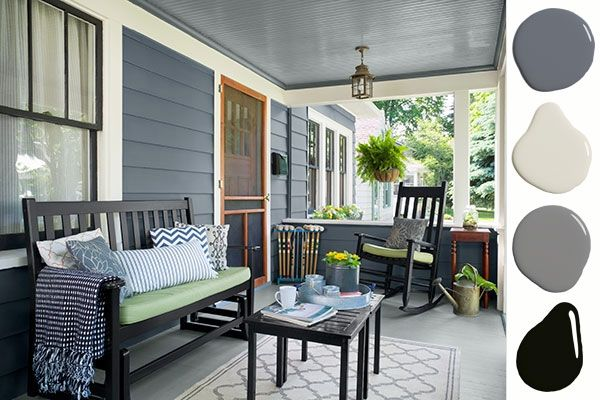 Shades of gray form a stately backdrop for this Craftsman bungalow porch.
