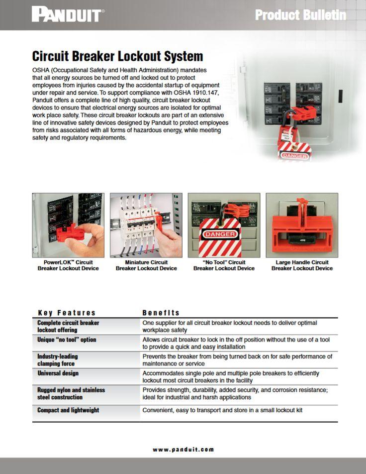 "Panduit Circuit Breaker Lockout System ""IDCB78--SA-ENG"" 03.2016 http://www.panduit.com/heiler/ProductBulletins/D-IDCB78--SA-ENG-CircuitBreakLockoutSys-W.pdf"