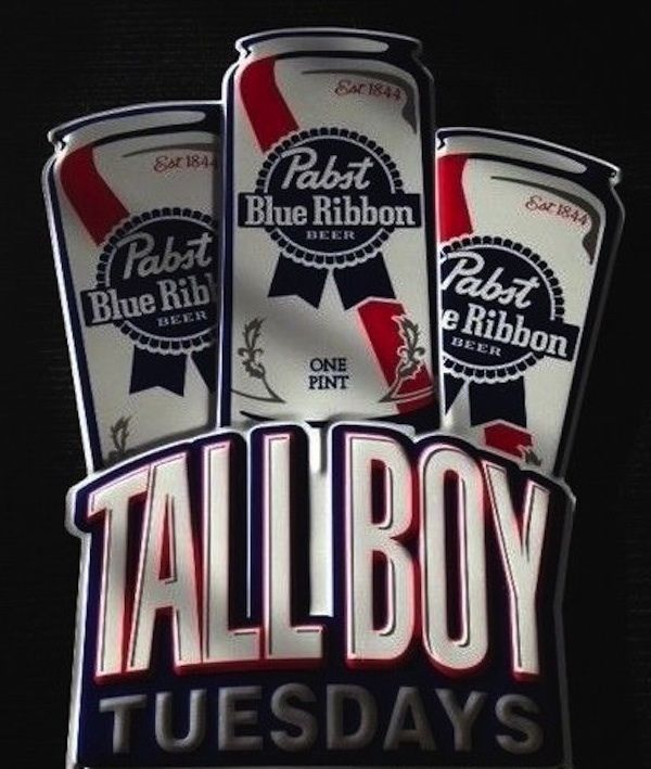 PABST BLUE RIBBON PBR TALL BOY TUESDAYS BEER POSTER SIGN ...