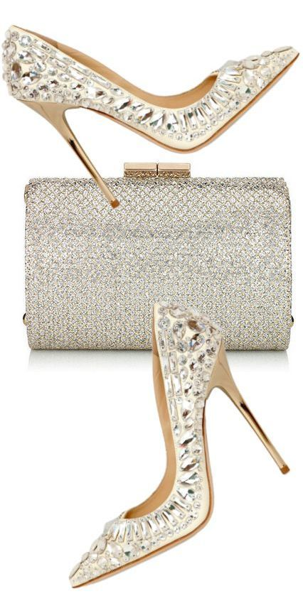 Jimmy Choo ~ Clutch & Shoes, Ivory